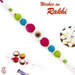 Aapno Rajasthan Brilliant Tri Color Beads Studded Rakhi - Rb17624