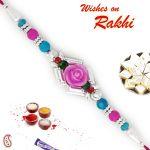 Aapno Rajasthan Pink & Blue Beads Studded Rose Shape Rakhi - Rb17627