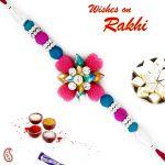 Aapno Rajasthan Blue & Pink Beads Studded Floral Shape Rakhi - Rb17629