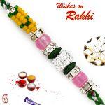 Aapno Rajasthan Yellow, Green & Pink Beads Studded Charming Rakhi - Rb17636