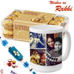 Aapno Rajasthan Ferrero Rocher Chocolate & 1 Rakhi With Personalized Mug - Rcust1731