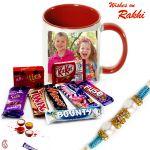 Aapno Rajasthan Assorted Chocolate & Personalized Mug Rakhi Hamper - Rcust1739