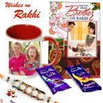 Aapno Rajasthan Cadbury Chocolates Rakhi Hamper With Personalized Mug & Card - Rcust1741