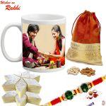 Aapno Rajasthan Personalized Mug Hamper With Rakhi, Kaju Katli & Dryfruits - Rcust1745