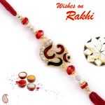 Rakhi For Usa- Aapno Rajasthan Meena Work Om Rakhi With Stone And Crystal Beads - Us_rj16241