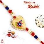 Rakhi For Usa- Aapno Rajasthan Aapno Rajasthan Blue & Orange Beads Shree Ji Motif Rakhi - Us_rj17277