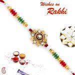 Aapno Rajasthan Red & Green Beads Floral Shape Rakhi - Rj17353