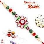 Aapno Rajasthan Pretty Red & Green Crystal Beads Floral Shape Rakhi - Rj17364