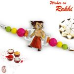 Rakhi For Usa- Aapno Rajasthan Tri Color Beads Studded Kids Rakhi - Us_rk16864