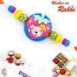 Rakhi For Usa- Aapno Rajasthan Beautiful Multicolor Beads Embellished Orange Band Rakhi - Us_rk17706