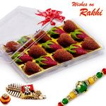 Rakhi For Usa- Aapno Rajasthan Premium Kaju Strawberry & Kaju Litchi Sweets With Free 1 Rakhi - Us_rm1767