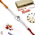 Aapno Rajasthan Beautiful White Crystal Silver Chain Rakhi - Srl17560