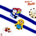 Rakhi For Usa- Aapno Rajasthan Set Of 2 Minion & Doremon Motif Kids Rakhi - Us_pst170204