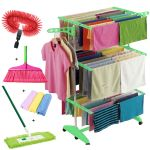 Kawachi Mild Steel With Abs Plastic Laundry Hanger Cloth Drying Stand With Floor Mop Broom, Fan Cleaning Brush Ans 3 PCs Napkin Set Of 7 PCs Combo