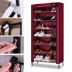 Kawachi Multipurpose Shelf Shoe Storage With 7 Layer Shoe Stand Rack-maroon