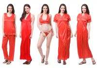 Fasense Exclusive Women Satin Nightwear Sleepwear 6 PCs Set Of Nighty, Wrap Dp114 C