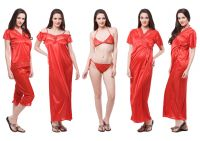 Fasense Exclusive Women Satin Nightwear Sleepwear 6 PCs Set Of Nighty Dp115 C