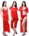 Fasense Exclusive Women Satin Nightwear Sleepwear 6 PCs Set Of Nighty Dp116 C