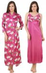 Fasense Women Satin Nightwear 2 PC Set Of Long Nighty & Wrap Gown Dp177 B