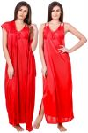 Fasense Women Satin Red Nightwear 2 PC Set Of Nighty & Wrap Gown Ed008 C