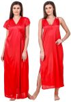 Fasense Women Satin Red Nightwear 2 PC Set Of Nighty & Wrap Gown Ed009 C