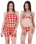 Fasense Exclusive Women 4 PCs Set, Top, Shorts, Bra & Thong Fa053