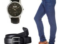 Stylox Dark Blue Denim With Belt And Watch