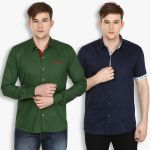 Stylox Mens Cotton Olive Green-navy Blue Casual Shirt (pack Of 2) (code - Sht-2cmbo-025-31)