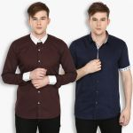 Stylox Mens Cotton Brown-navy Blue Casual Shirt (pack Of 2) (code - Sht-2cmbo-029-31)