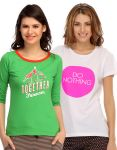 Clovia Pack Of 2 T-shirts-(product Code- Combo-(product Code- Lt08)