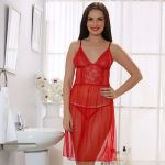 Cloe Set Of Lacy Night Slip And Brief In Red Ns0211t04
