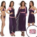 7 PCs Nightwear Set In Purple With Bag - Ns0564p15
