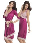 Clovia 2 PCs Lace And Satin Nighty With Robe In Dark Purple Ns0612p15