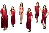 6 Piece Satin Nightwear In Maroon