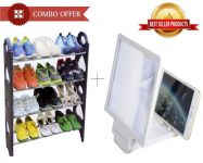 Combo Offer- 12 Pair Stackable Shoe Rack And 3d Phone Magnifier - Cm12spm