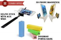 2600mah Power Bank Selfie Stick With Aux Phone Magnifier - Cm26axpm