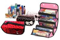 Roll-n-go 4 Compartment Cosmetic / Jewellery Bag Brown
