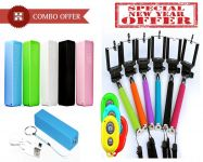 Combo Offer- 2600 mAh Power Bank And Selfie Stick Wireless Remote