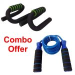 Deemark Push Up Bars With Skipping Rope Combo Pack