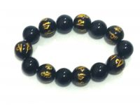 Tibetan Black Synthetic Crystals Om Mani Padme Hum Engraved Stretch Bracelet