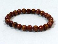 Tibetan Om Mani Padme Hum Engraved Gold Stone Stretch Bracelet ( 8 MM )