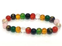 Chakra Crystals Om Mani Padme Hum Engraved Tibetan Stretch Bracelet