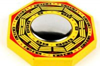 Bagua Mirror (wooden) (3x3 Inches) For Good Fortune Pakua Mirror Fengshui