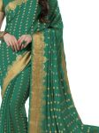 De Marca Crepe Dark Green Saree For Womens - Sak290