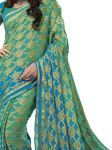 De Marca Crepe Light Green / Sky Blue Saree For Womens - Sak294