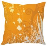 Stybuzz Orange Floral Art Orange Cushion Cover