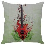 Stybuzz Artistic Guitar White Cushion Cover