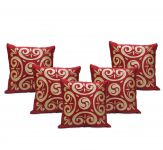 Stybuzz Maroon Embroidered Cushion Covers - Set Of 5 - (product Code - Embr000036)