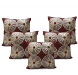 Stybuzz Maroon Embroidered Cushion Covers - Set Of 5 - (product Code - Embr000043)