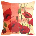 Fabulloso Leaf Designs Orange And Red Floral Cushion Cover - 16x16 Inches